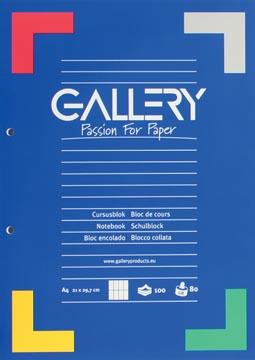 Gallery bloc de cours, quadrillé commercial, papier de 80 g/m²