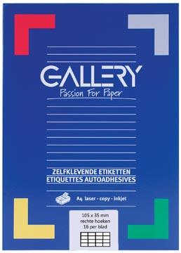 Gallery étiquettes blanches, ft 105 x 35 mm (l x h), coins carrés, boîte de 1.600 étiquettes