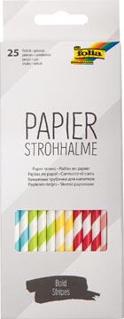 Folia pailles en papier, boîte distributrice de 25 pièces, rayures