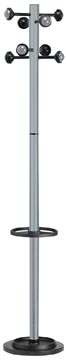 Unilux portemanteau Accueil, hauteur 175 cm, 8 patères, gris métallique