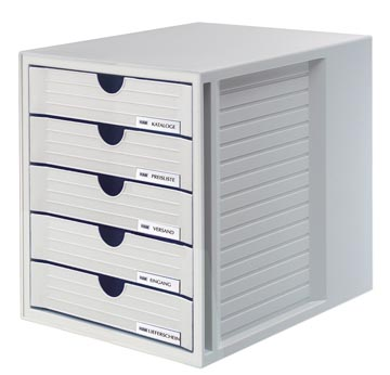 Han bloc à tiroirs avec tiroirs fermés, gris clair