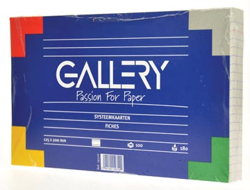 Gallery fiches blanches, ft 12,5 x 20 cm, ligné, paquet de 100 pièces