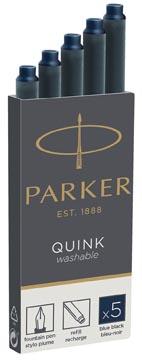 Parker Quink cartouches d'encre, bleu-noir, boîte de 5 pièces