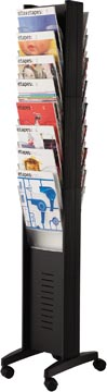 Paperflow présentoir mobile, double face, 16 cases, noir