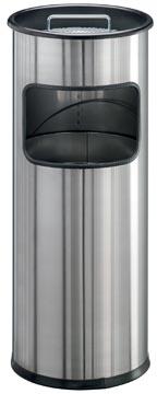 Durable poubelle avec cendrier Atlanta 19 litre, acier inoxydable