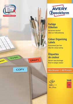 Avery Etiquettes ILC ft 70 x 37 mm (l x h), 2400 étiquettes par boîte, 24 par feuille, couleur: rouge