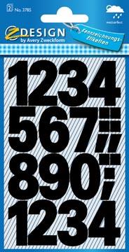 Avery Etiquettes chiffres et lettres 0-9 large, 2 feuilles, noir, film résistant aux intempéries