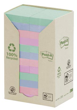 Post-it Notes récyclé, ft 38 x 51 mm, couleurs assorties, 100 feuilles, pacquet de 24 blocs