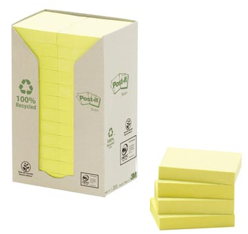 Post-it Notes récyclé, ft 38 x 51 mm, jaune, 100 feuilles, pacquet de 24 blocs