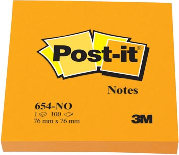 Post-it Notes, ft 76 x 76 mm, orange néon, bloc de 100 feuilles