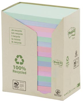 Post-it Notes récyclé, ft 76 x 127 mm, couleurs assorties, 100 feuilles, pacquet de16 blocs