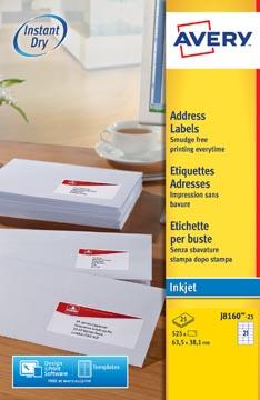 Avery J8160-25 étiquettes adresse ft 63,5 x 38,1 mm(b x h), 525 étiquettes, blanc