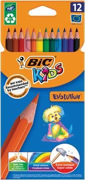 Bic Kids crayon de couleur Ecolutions Evolution 12 crayons en étui cartonné