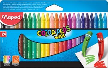 Maped crayon à cire Color'Peps Wax, boîte de 24 pièces en couleurs assorties
