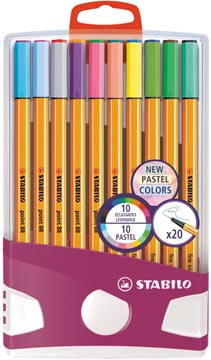 STABILO point 88 Pastel fineliner, Colorparade, étui de 20 pièces en couleurs assorties