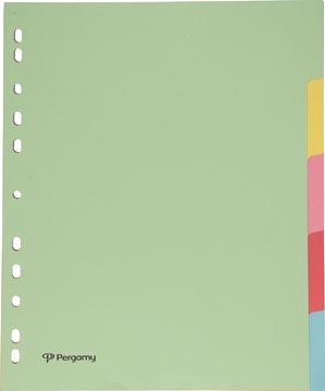 Pergamy intercalaires ft A4 maxi, perforation 11 trous, carton, couleurs assorties pastel, 5 onglets