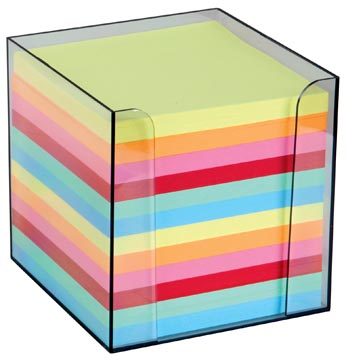 Cube-mémo en PP, feuillets en couleurs assorties