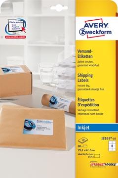 Avery Etiquettes blanches jet d'encre QuickDry boîte de 10 feuilles ft 99,1 x 67,7 mm (l x h), 80 pièces