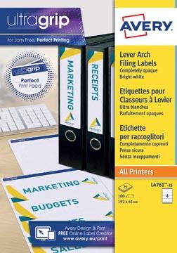 Avery Zweckform L4761-25 étiquettes pour classeurs à levier, ft 19,2 x 6,1 cm, 100 étiquettes, blanc
