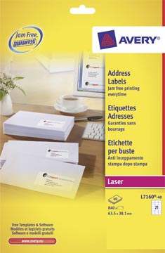 Avery L7160, Etiquettes adresses, Laser, Ultragrip, blanches, 40 pages, 21 per page, 63,5 x 38,1 mm
