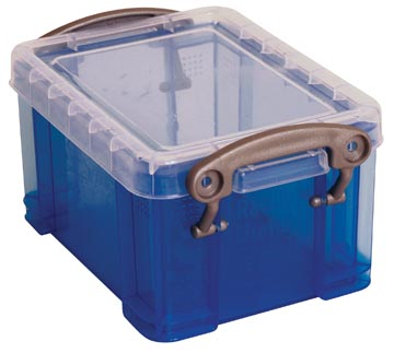 Really Useful Box porte-cartes de visite 0,3 litres, bleu transparent